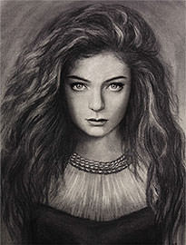 Lorde portrait drawing artist Elena Esina